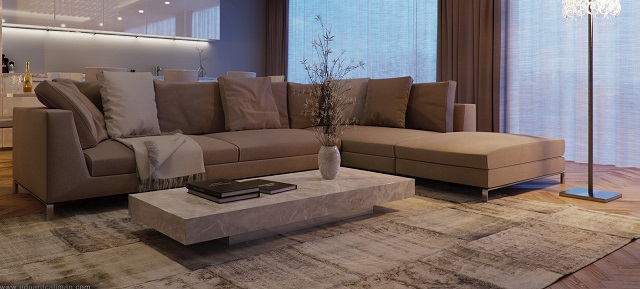 apartment designs Five fantastic apartment designs that you really have to see! 7 Taupe sofa1