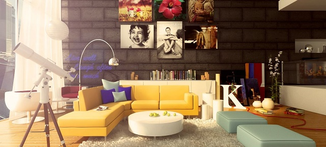 """How to give color to a living room"" living room How to give color to a living room: unique home accessories Colorful living room design"