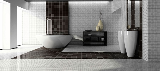 white interiors Spectacular black and white interiors black and white modern bathroom1