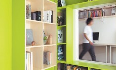"""Bright interior designs: saturated color schemes"" interior designs Bright interior designs: saturated color schemes switch apartment plywood door with built in bookshelves home office1 234x141"