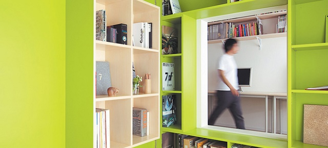 """Bright interior designs: saturated color schemes"" interior designs Bright interior designs: saturated color schemes switch apartment plywood door with built in bookshelves home office1"