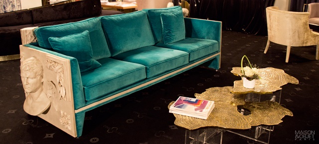 """The perfect sofas for your living room"" perfect sofas The perfect sofas for your living room teal blue versailles sofa monet center table boca do lobo"