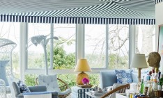 """How to decorate with stripes"" - tips by House Beautiful Hotels in Miami Top 10 Design Hotels in Miami 02 hbx striped sunroom 1012 de extra large new 234x141"