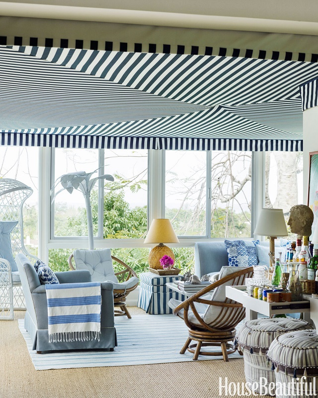 """How to decorate with stripes"" - tips by House Beautiful Hotels in Miami Top 10 Design Hotels in Miami 02 hbx striped sunroom 1012 de extra large new"