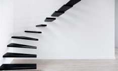 """Creative and unusual stairs designs""  Top 10 Design Hotels in Rome floating feel black theme staircase 234x141"