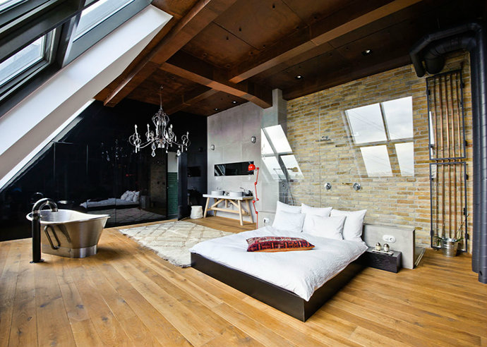 Minimalistic but modern and rustic bedroom eclectic style