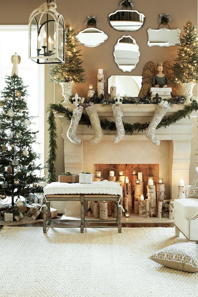 Christmas home decor: candles and silver Christmas decoration