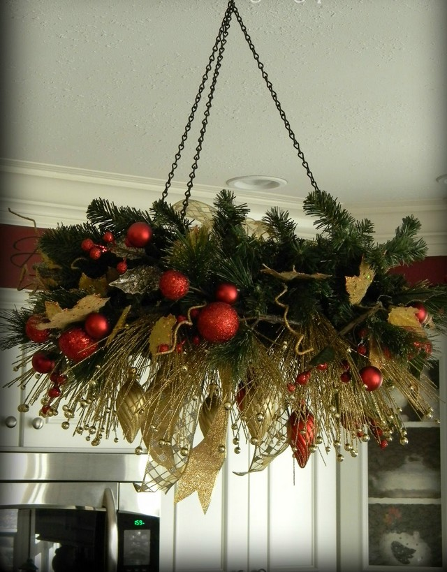 Christmas chandelier decorations two birds home here christmas home decor vintage chandelier aloadofball Gallery