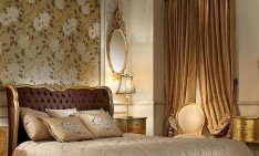 Gold mirrors-the latest trend! fabulous bedroom design apply classic elegant style with antique looks bed and decorated with ancient mirrors 234x141