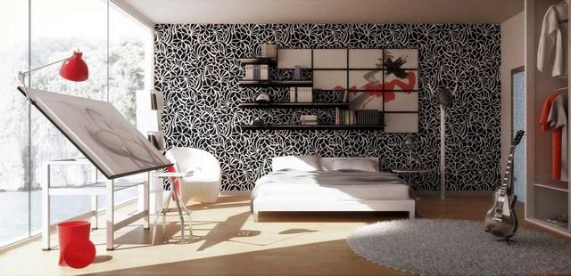 Wallpaper-Kamar-Tidur-Motif-Hitam-Putih-Interior-Kamar-Tidur-Luas  Spring 2015 Interior Design Ideas – wall decor Wallpaper Kamar Tidur Motif Hitam Putih Interior Kamar Tidur Luas