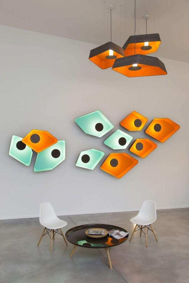 colorful home design ideas mango orange Nénuphar wall lamp and pendant light design heure 640