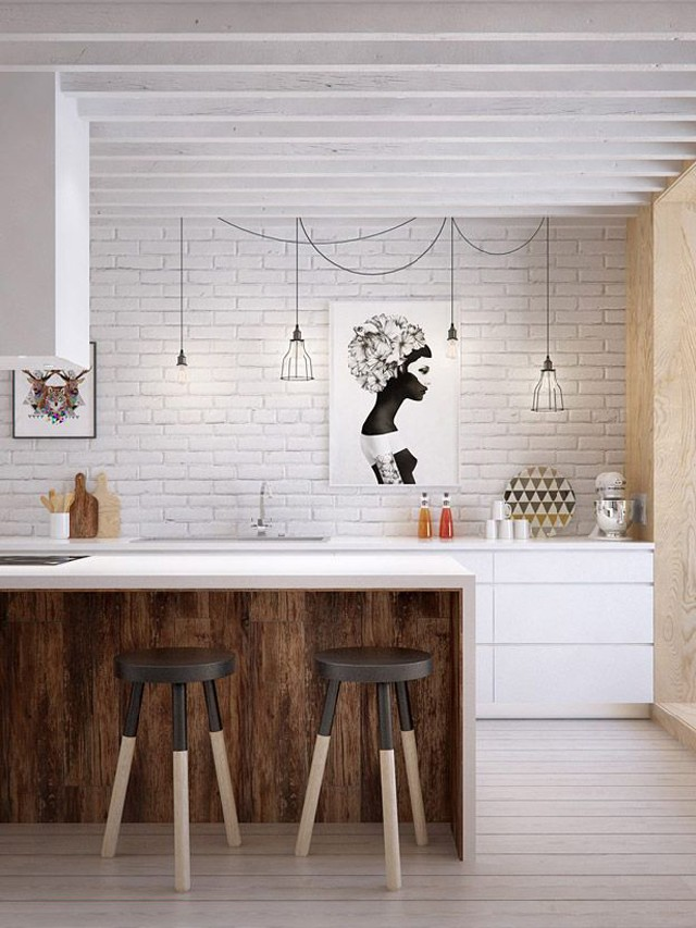 partment in a clean but not exactly minimalist aesthetic white kitchen