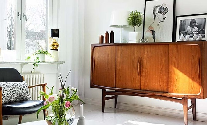 mid century modern Interior Design tips: choose mid century modern furniture vintage sideboard retro feat