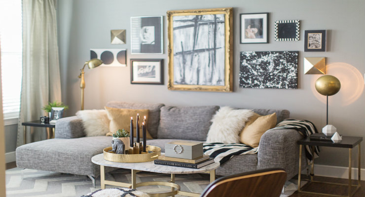 Add some brass details to your living room design living room design Add some brass details to your living room design featured Gold details on a white fireplace delightfull hendrix wall lamp