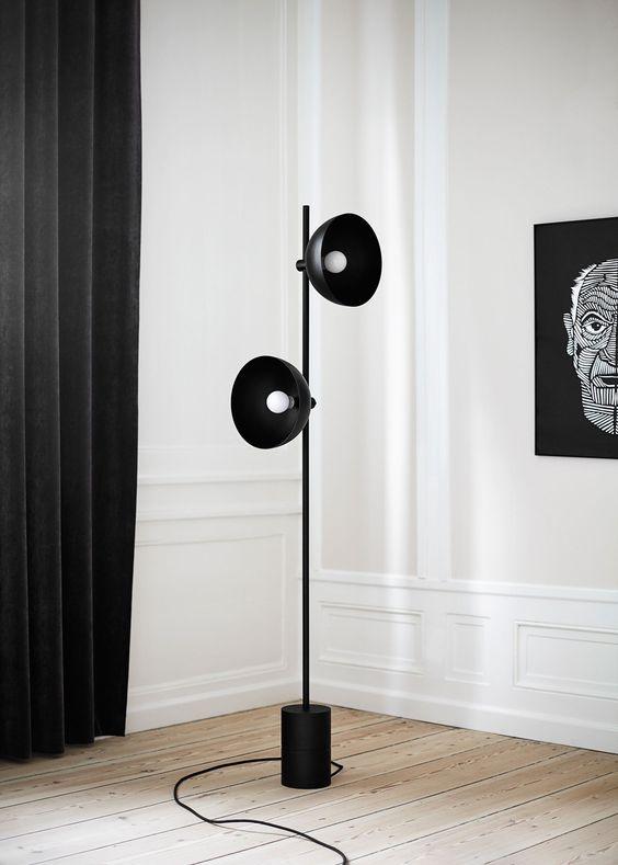 Living room ideas black floor lamps for Living cameroon uplighter floor lamp black