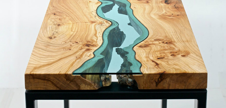 featured Coffee table Stunning Wooden Coffee table With Glass Rivers and Lakes featured 6