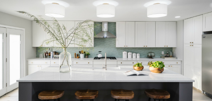 Scandinavian White and Gray Open Concept Kitchen