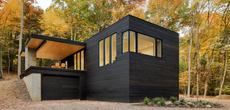 HOW STRIKING IS THIS BLACKENED WOOD CABIN Blackened wood cabin HOW STRIKING IS THIS BLACKENED WOOD CABIN? HOW STRIKING IS THIS BLACKENED WOOD CABIN feat