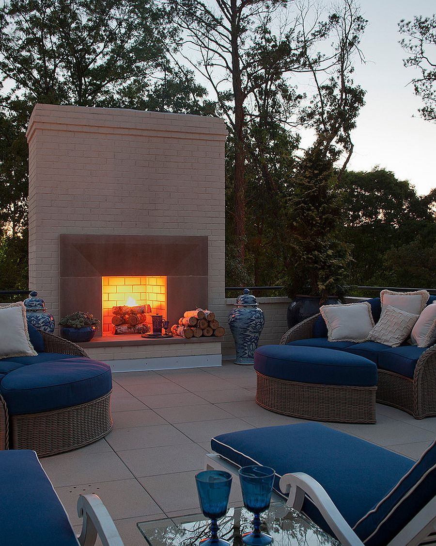 relaxing outdoor retreat fireplace edition