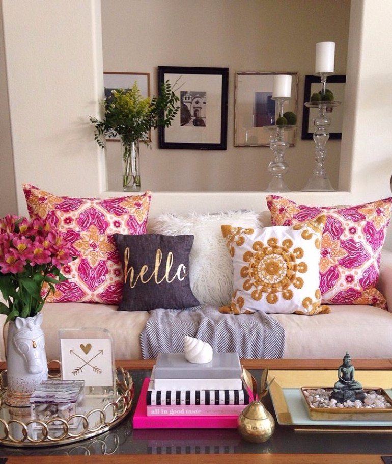 Living Room Decor Inspired Look How To Style A Pile of Pillows 3